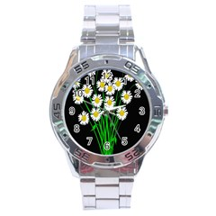 Bouquet Geese Flower Plant Blossom Stainless Steel Analogue Watch