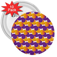 Pattern Background Purple Yellow 3  Buttons (10 Pack)