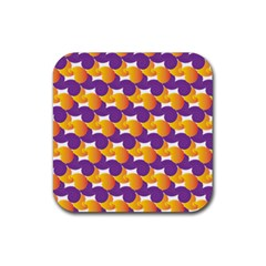 Pattern Background Purple Yellow Rubber Square Coaster (4 Pack)