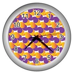 Pattern Background Purple Yellow Wall Clocks (silver)  by Nexatart