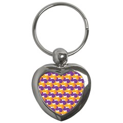 Pattern Background Purple Yellow Key Chains (heart)