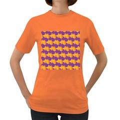 Pattern Background Purple Yellow Women s Dark T Shirt