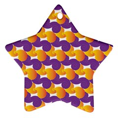 Pattern Background Purple Yellow Star Ornament (two Sides)