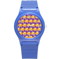 Pattern Background Purple Yellow Round Plastic Sport Watch (s)