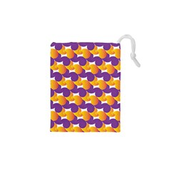 Pattern Background Purple Yellow Drawstring Pouches (xs)