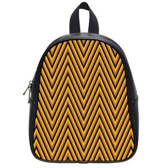 Chevron Brown Retro Vintage School Bag (small) by Nexatart