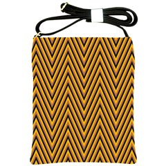 Chevron Brown Retro Vintage Shoulder Sling Bags by Nexatart