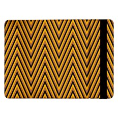 Chevron Brown Retro Vintage Samsung Galaxy Tab Pro 12 2  Flip Case by Nexatart