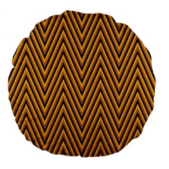 Chevron Brown Retro Vintage Large 18  Premium Flano Round Cushions by Nexatart