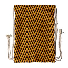 Chevron Brown Retro Vintage Drawstring Bag (large)