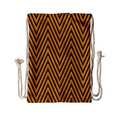 Chevron Brown Retro Vintage Drawstring Bag (small)
