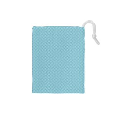 Blue Pattern Background Texture Drawstring Pouches (small)