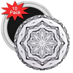 Mandala Pattern Floral 3  Magnets (10 Pack)  by Nexatart