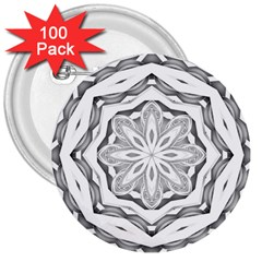 Mandala Pattern Floral 3  Buttons (100 Pack)