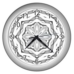 Mandala Pattern Floral Wall Clocks (silver)  by Nexatart