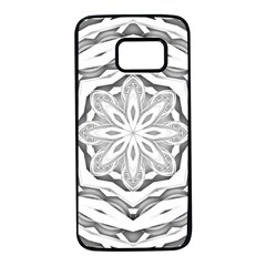 Mandala Pattern Floral Samsung Galaxy S7 Black Seamless Case
