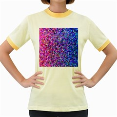 Triangle Tile Mosaic Pattern Women s Fitted Ringer T Shirts