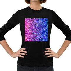 Triangle Tile Mosaic Pattern Women s Long Sleeve Dark T Shirts