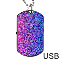 Triangle Tile Mosaic Pattern Dog Tag Usb Flash (one Side)