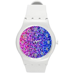 Triangle Tile Mosaic Pattern Round Plastic Sport Watch (m) by Nexatart