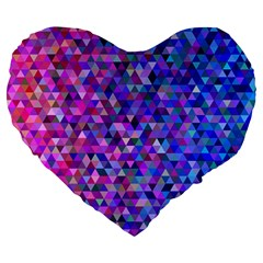 Triangle Tile Mosaic Pattern Large 19  Premium Heart Shape Cushions by Nexatart