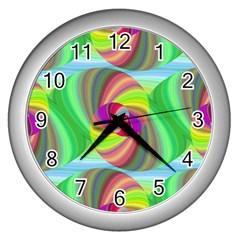 Seamless Pattern Twirl Spiral Wall Clocks (silver)  by Nexatart