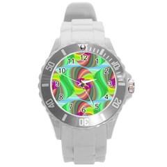 Seamless Pattern Twirl Spiral Round Plastic Sport Watch (l)