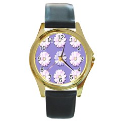 Daisy Flowers Wild Flowers Bloom Round Gold Metal Watch