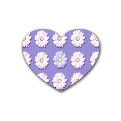 Daisy Flowers Wild Flowers Bloom Rubber Coaster (heart)
