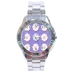 Daisy Flowers Wild Flowers Bloom Stainless Steel Analogue Watch