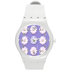 Daisy Flowers Wild Flowers Bloom Round Plastic Sport Watch (m) by Nexatart