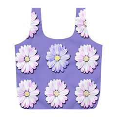 Daisy Flowers Wild Flowers Bloom Full Print Recycle Bags (l)