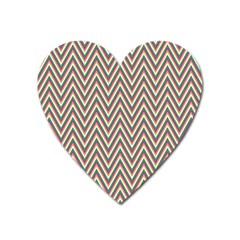 Chevron Retro Pattern Vintage Heart Magnet by Nexatart