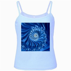 Blue Fractal Abstract Spiral Baby Blue Spaghetti Tank