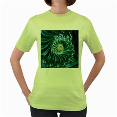 Blue Fractal Abstract Spiral Women s Green T Shirt