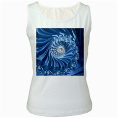 Blue Fractal Abstract Spiral Women s White Tank Top
