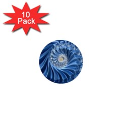 Blue Fractal Abstract Spiral 1  Mini Buttons (10 Pack)
