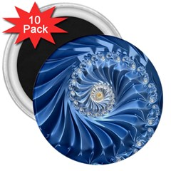 Blue Fractal Abstract Spiral 3  Magnets (10 Pack)  by Nexatart