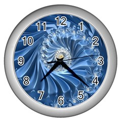 Blue Fractal Abstract Spiral Wall Clocks (silver)  by Nexatart