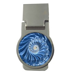 Blue Fractal Abstract Spiral Money Clips (round)