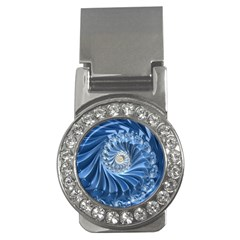 Blue Fractal Abstract Spiral Money Clips (cz)