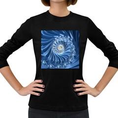 Blue Fractal Abstract Spiral Women s Long Sleeve Dark T Shirts