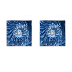Blue Fractal Abstract Spiral Cufflinks (square)