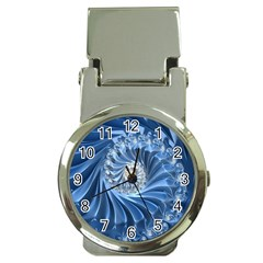 Blue Fractal Abstract Spiral Money Clip Watches by Nexatart