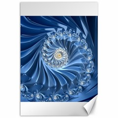 Blue Fractal Abstract Spiral Canvas 12  X 18
