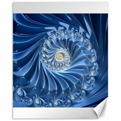 Blue Fractal Abstract Spiral Canvas 16  X 20