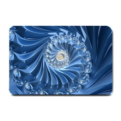 Blue Fractal Abstract Spiral Small Doormat
