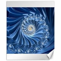 Blue Fractal Abstract Spiral Canvas 11  X 14