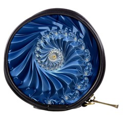 Blue Fractal Abstract Spiral Mini Makeup Bags
