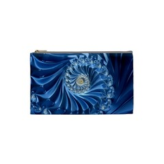 Blue Fractal Abstract Spiral Cosmetic Bag (small)